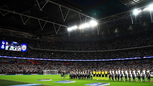 The teams line up at Wembley prior to Spurs' meeting with Monaco