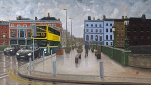 A detail from View of Grattan Bridge looking towards Capel Street, by Keith Rowan Geoghegan