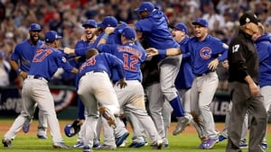 The Chicago Cubs celebrate after defeating the Cleveland Indians 8-7 in Game Seven of the 2016 World Series