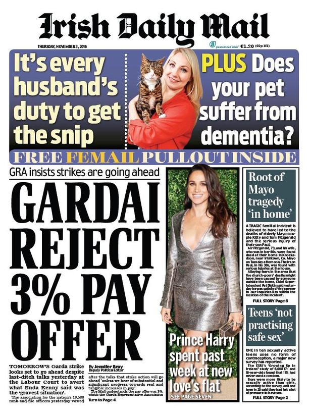 Newspaper headlines: Gardai strike and Brexit