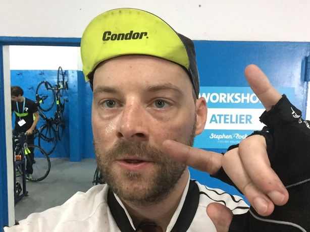 Tadhg Peavoy at the end of 222km of riding