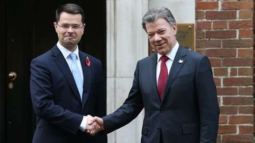 Northern Ireland Secretary James Brokenshire welcomes the Colombian president to Stormont House
