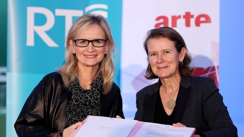 Dee Forbes, the new Director-General of RTÉ, and Anne Durupty, Vice President of ARTE GEIE and Chief Executive Officer of ARTE France, pictured today at Dublin's Hugh Lane Gallery.