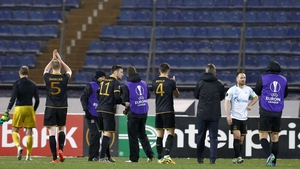 Dundalk players salute the fans in St Petersburg