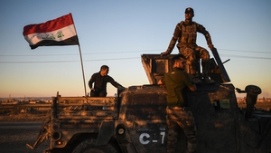 Iraqi forces pictured east of Mosul on Thursday