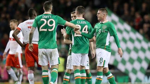 The symbol was worn on Irish jerseys for the international friendly against Switzerland