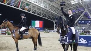 Cian O'Connor celebrates his victory in Doha (Photo courtesy of LGCT)