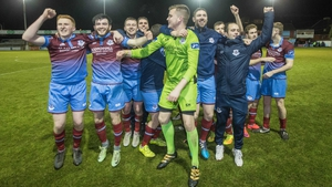Drogheda United players celebrate at the final whistle