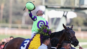 Jockey Javier Castellano aboard New Money Honey celebrates after winning in the Breeders' Cup Juvenile Fillies Turf