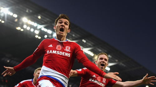 Marten de Roon celebrates Middlesbrough's leveller
