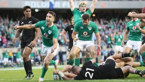 Conor Murray celebrates Robbie Henshaw's try in Ireland's historic victory