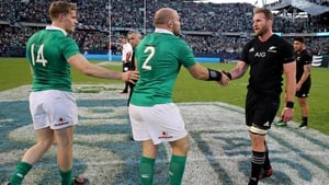 Captains Rory Best and Kieran Read shake hands after the match