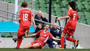 Leanne Kiernan celebrates scoring in the FAI Senior Cup final