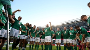 The Ireland players take it all in after finally getting the better of New Zealand