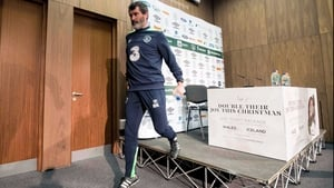 Roy Keane leaves the stage at Abbotstown after his press conference
