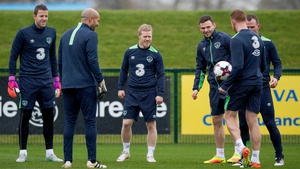 Horgan (C) trains with the Ireland squad at Abbotstown earlier today
