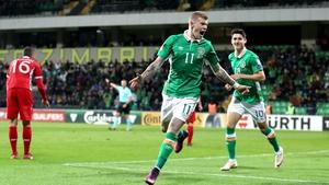 James McClean celebrates finding the net against Moldova