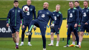 Darren Randolph trains at Abbotstown with other members of the Ireland squad
