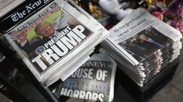 US newspapers on the day after Donald Trump was elected President