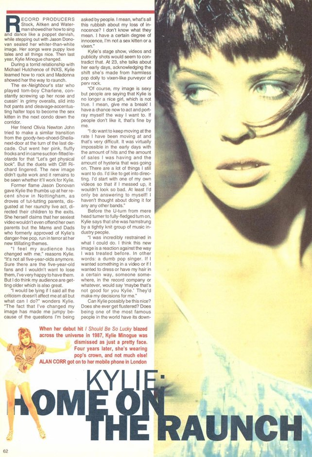 Kylie Minogue in RTÉ Guide 15 November 1991
