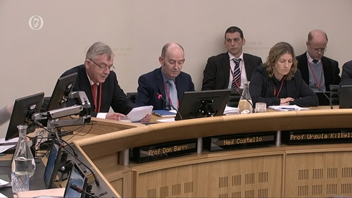 Professor Don Barry (L) gives his opening address at the Joint Committee on Education