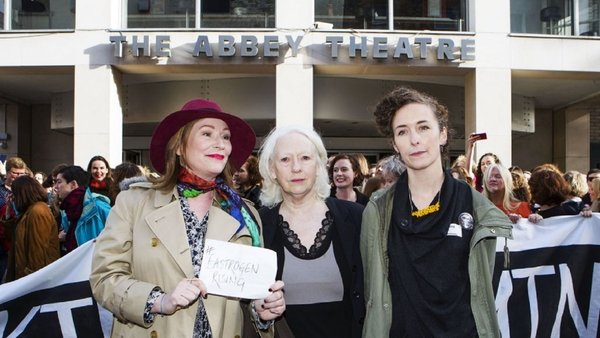 #WakingTheFeminists founder Lian Bell (far left), pictured with actresses Kate O'Toole and Marie Mullen outside The Abbey Theatre, November 2015 (Picture: Fiona Morgan)