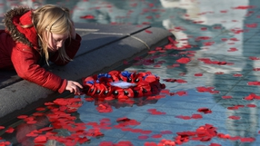 A young girl touches a poppy in a fountain pool during an Armistice Day event in Trafalgar Square