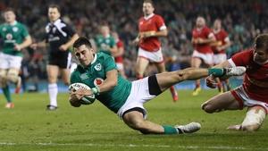 Tiernan O'Halloran with Ireland's third try