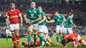 Ultan Dillane celebrates his Ireland try