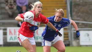 Brid Stack (L) holds off Laura Fitzpatrick of Cavan in the All-Ireland SFC quarter-final