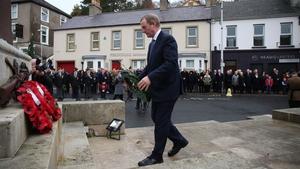 Enda Kenny laid a wreath of green laurels in Enniskillen today