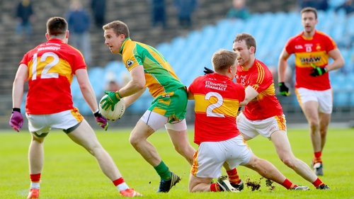 Gary Sice comes under pressure from Castlebar's James Durkan, Shane Irwin and Shane Hopkins