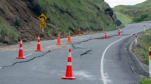A road is cordoned off near Hanmer in New Zealand after the earthquake