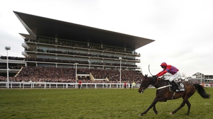 Sprinter Sacre en route to victory in the Betway Queen Mother Champion Steeple Chase at Cheltenham last March