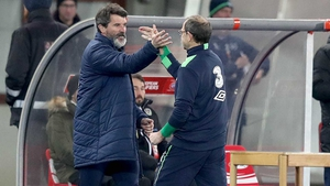 Roy Keane (L) and Martin O'Neill celebrate in Vienna