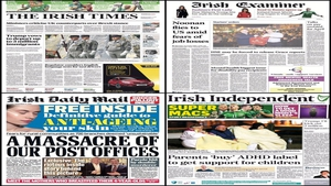 Both the Irish Daily Mirror and Irish Sun lead with the victory of Conor McGregor in his Mixed Martial Arts bout at Madison Square Garden in New York.