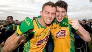 Corofin's Jason Leonard and Colin Brady celebrate their win over Castlebar