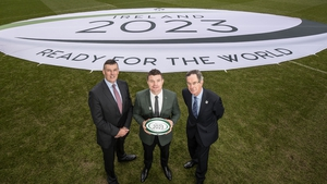 Philip Browne, Brian O'Driscoll and Dick Spring at today's RWC 2023 bid unveiling