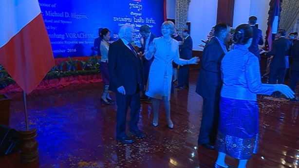 President Higgins and wife Sabina in Laos