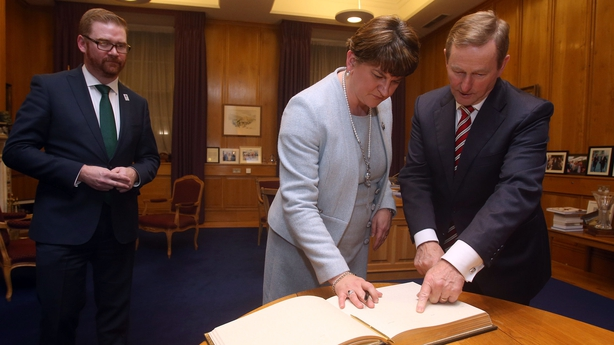 Enda Kenny (right) with Northern Ireland First Minister Arlene Foster and Northern Ireland Economy Minister Simon Hamilton at Government Buildings