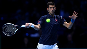 Novak Djokovic en route to his victory over Milos Raonic