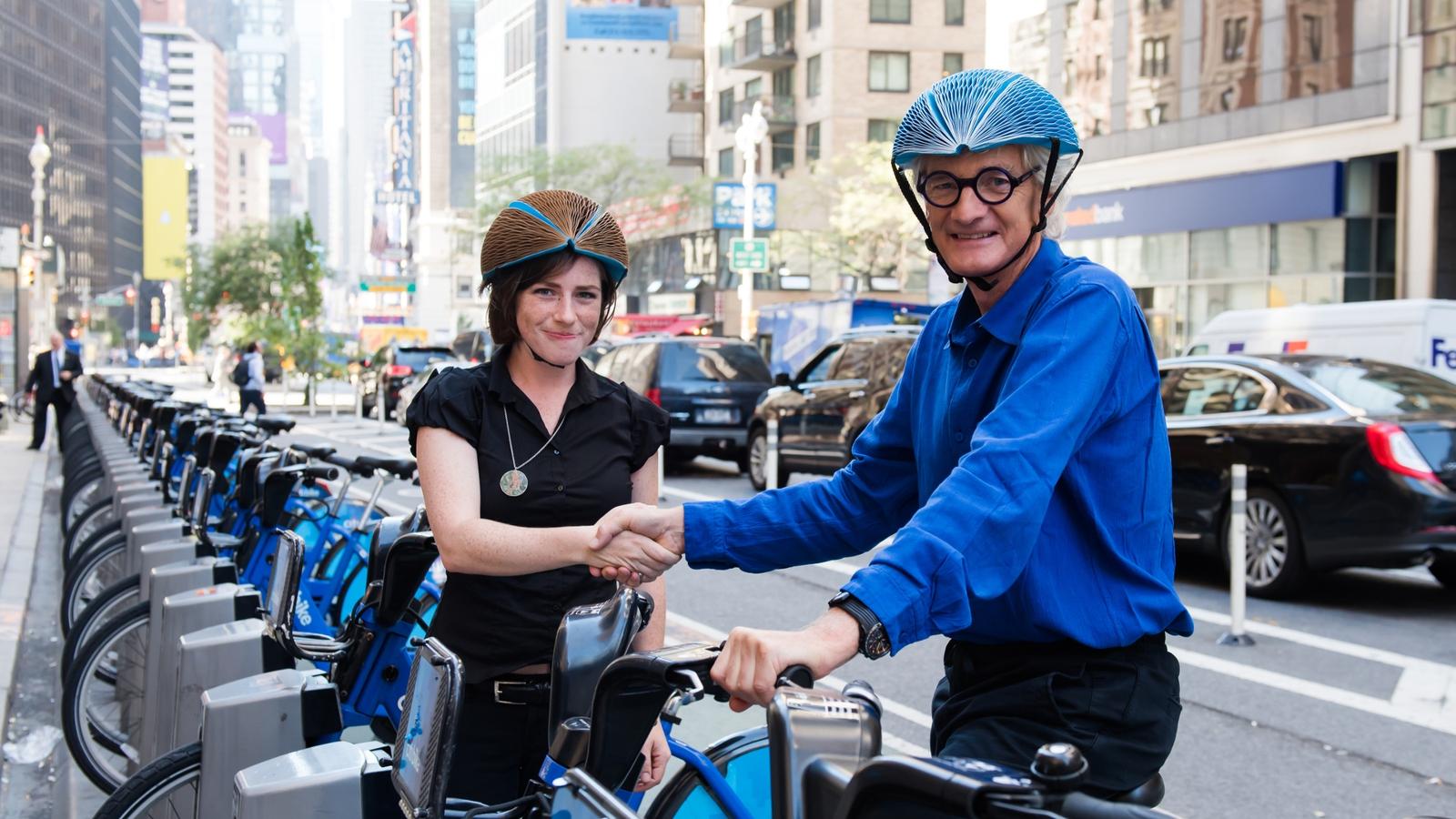 Folding bike helmet wins Dyson award