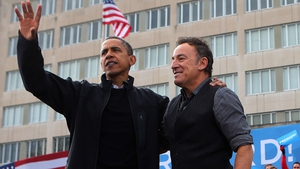 Obama alongside The Boss, Bruce Springsteen