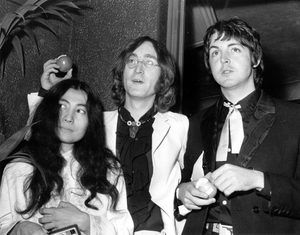 Paul McCartney pictured with John Lennon and Lennon's wife Yoko Ono in the late Sixties.