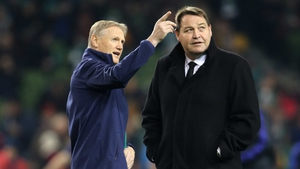 Ireland coach Joe Schmidt and his opposite number Steve Hansen chat prior to kick-off at the Aviva Stadium