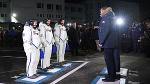 The three astronauts launched from the Baikonur Cosmodrome in Kazakhstan on Thursday