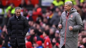 Jose Mourinho and Arsene Wenger following Giroud's late leveller