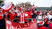 The 'Cuala Ultras' are on tour to O'Moore Park to support their team