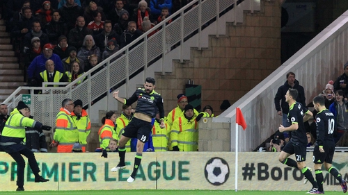 Diego Costa celebrates his goal at the Riverside