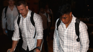 Cane (l) and Fekitoa arrive in Paris on Sunday
